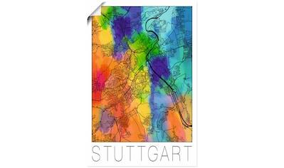 Artland Wandbild »Retro Karte Stuttgart Aquarell«, Deutschland, (1 St.), in vielen Größen & Produktarten - Alubild / Outdoorbild für den Außenbereich, Leinwandbild, Poster, Wandaufkleber / Wandtattoo auch für Badezimmer geeignet kaufen
