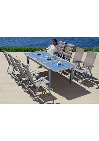 MERXX Gartenmöbelset »Amalfi«, (9 tlg.), 8 Hochlehner, Tisch 100x180-240 cm, Alu/Textil kaufen