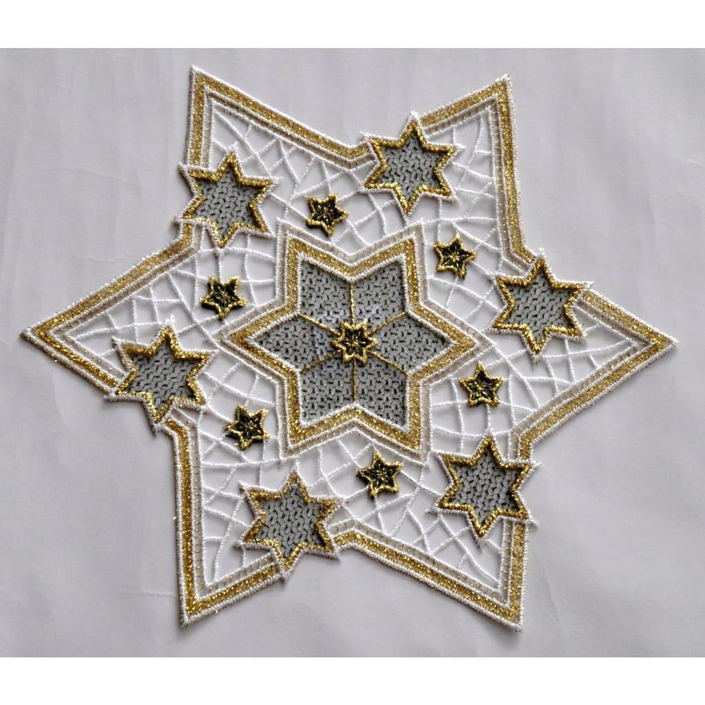 Stickereien Plauen Tischdecke »Goldtanne«, Goldsterne