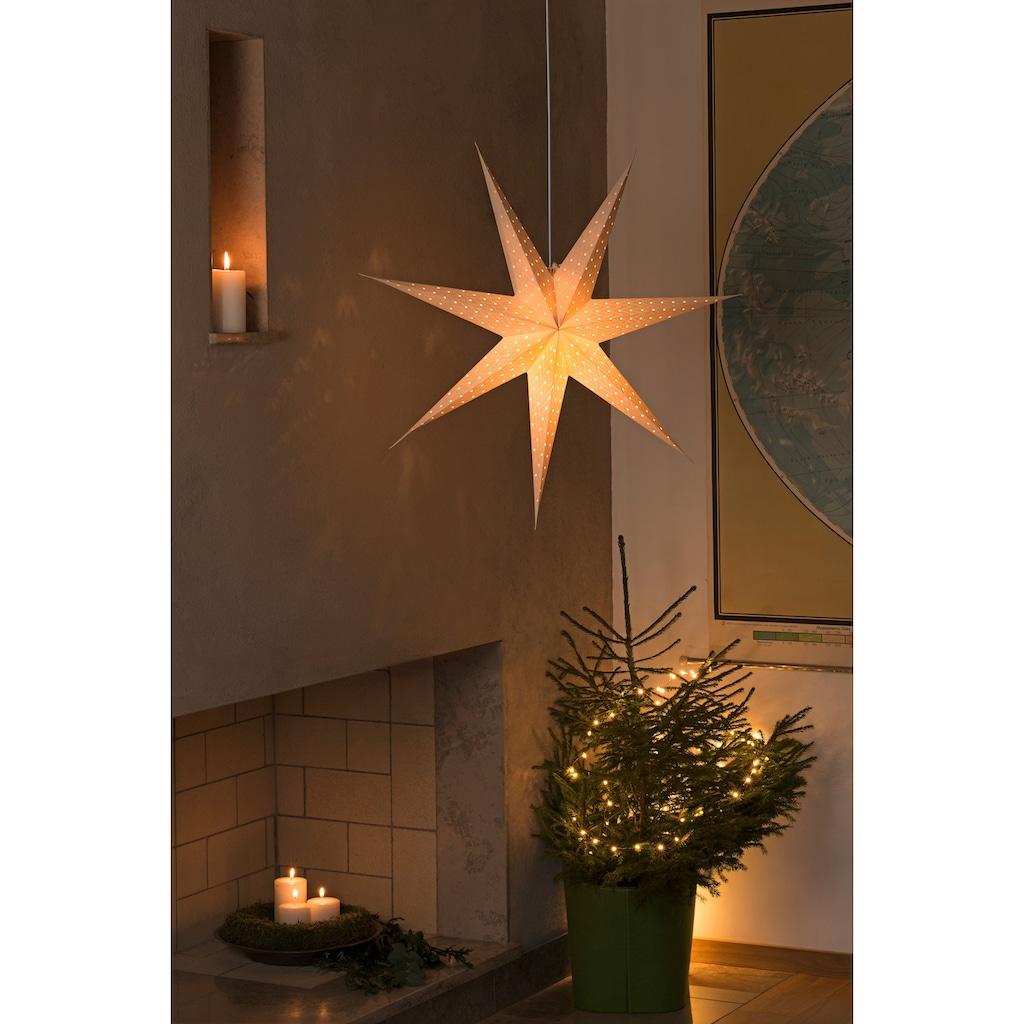 KONSTSMIDE LED Dekolicht, E14, Weißer Papierstern für den Innenbereich, perforiert, 7 Zacken, inkl. Anschlusskabel mit an/aus Schalter, ohne Leuchtmittel, weißes Kabel
