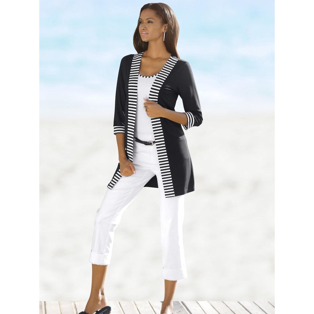 Alba Moda Shirt-Cardigan mit Streifendetails