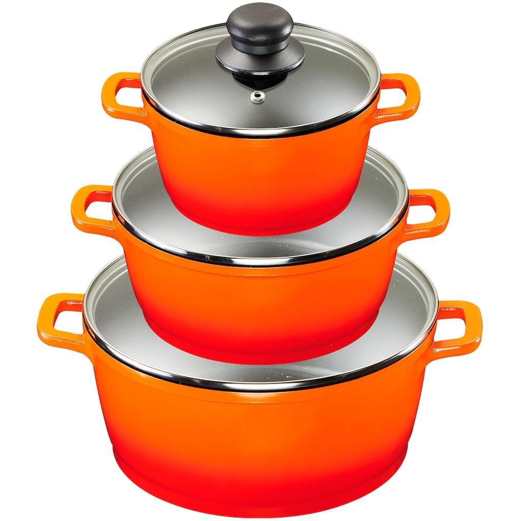 KING Topf-Set »Shine Orange«, Aluminiumguss, (Set, 9 tlg., 3 Pfannen, 3 Töpfe, 3 Deckel), Induktion