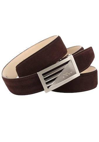 Anthoni Crown Ledergürtel, aus Veloursleder, Dunkelbraun kaufen