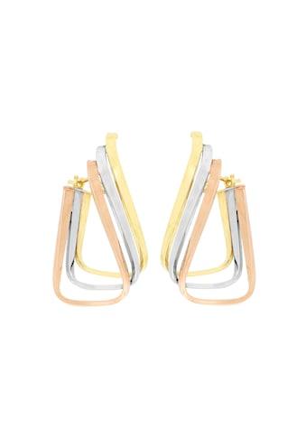 La Piora Paar Creolen »eckig/gedrehtes Design«, 3-reihig, 375/- Gelbgold rhodiniert/rosévergoldet kaufen