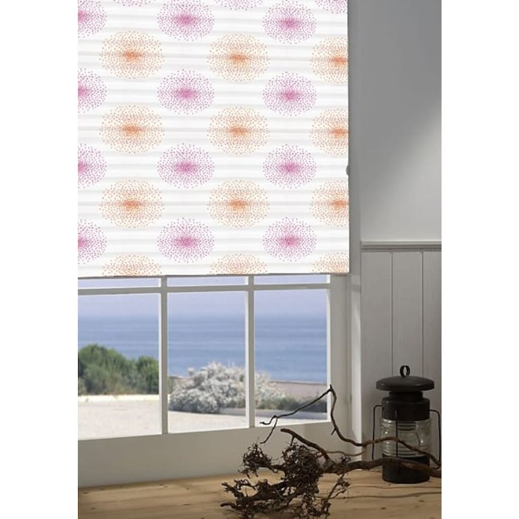 Plissee nach Maß, »Menorca-Blume«, sunlines, Lichtschutz, mit Bohren, verspannt