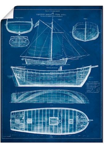 Artland Wandbild »Entwurf für ein Antikes Schiff II«, Boote & Schiffe, (1 St.), in vielen Größen & Produktarten - Alubild / Outdoorbild für den Außenbereich, Leinwandbild, Poster, Wandaufkleber / Wandtattoo auch für Badezimmer geeignet kaufen