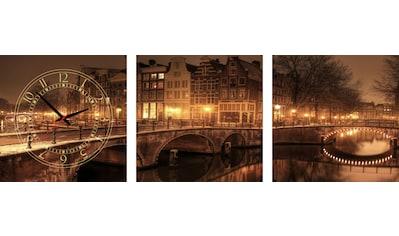 Conni Oberkircher´s Bild »Colours of the Night«, Brücken, (Set), mit dekorativer Uhr kaufen