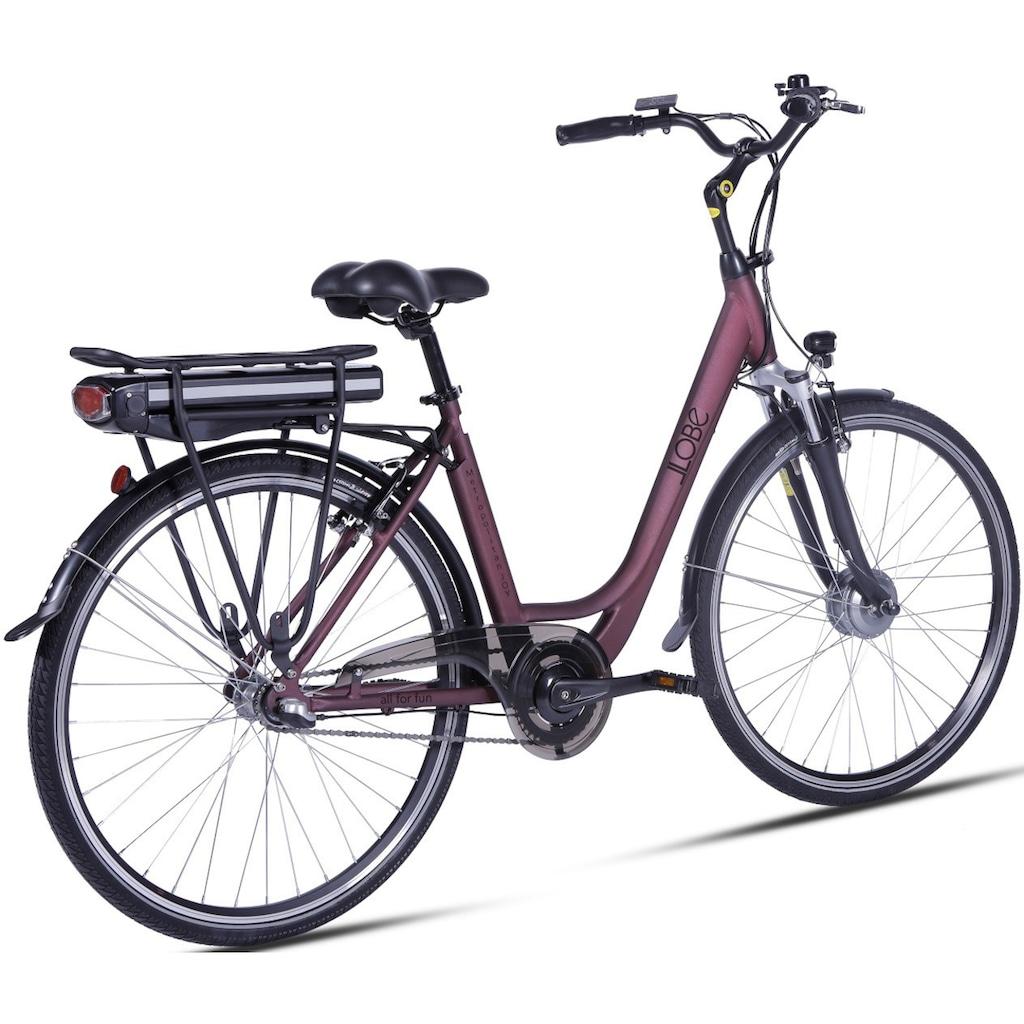 LLobe E-Bike »Metropolitan JOY rot 13 Ah«, 3 Gang, Frontmotor 250 W