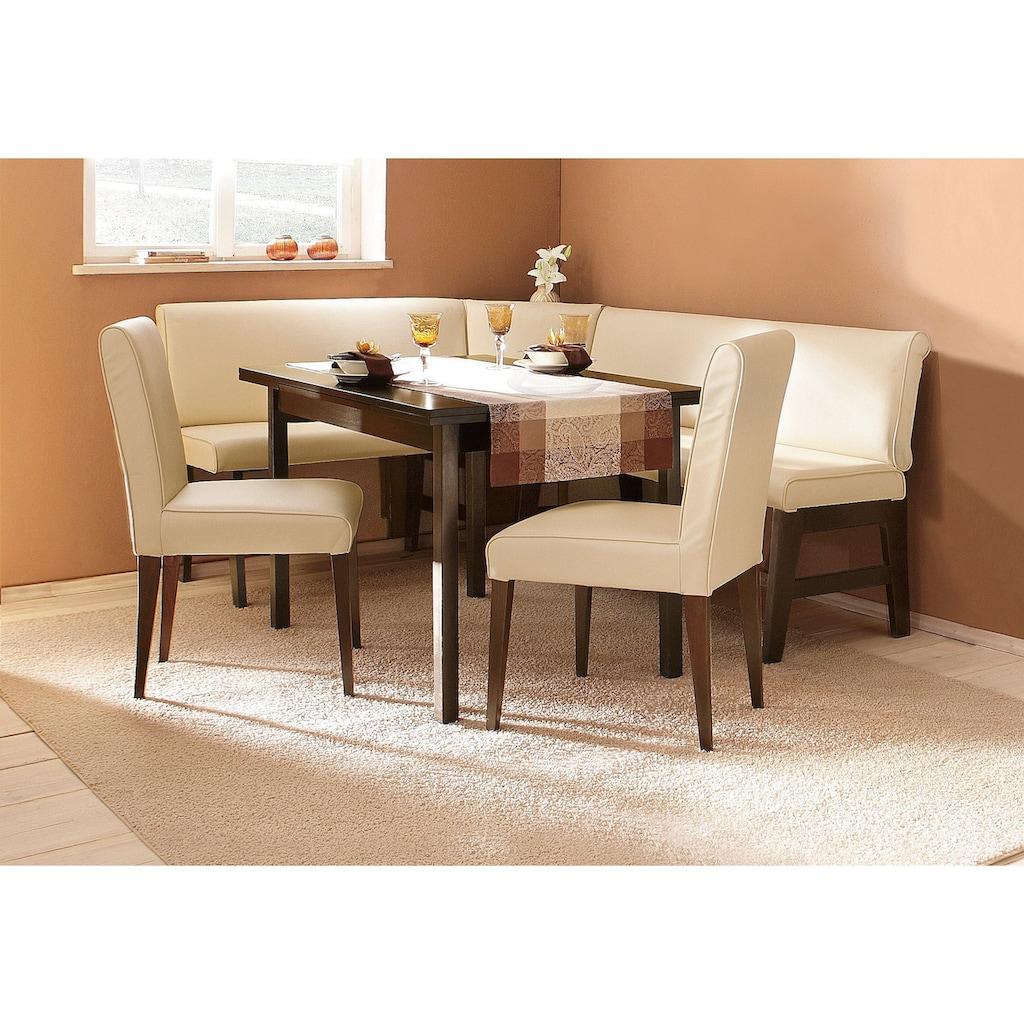Eckbankgruppe »Susanne«, (Set, 4 tlg.), (Eckbank, Tisch und 2 Stühle), Bezug in Kunstleder, Eckbank langer Schenkel 205 cm, Tisch ist ausziehbar (Breite 120-180 cm)