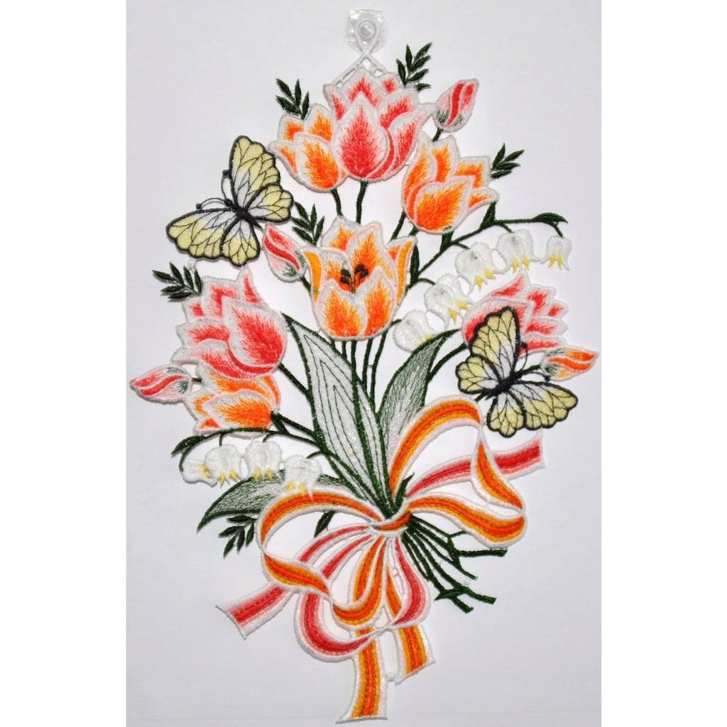 Stickereien Plauen Fensterbild »Fensterbild Blüten«