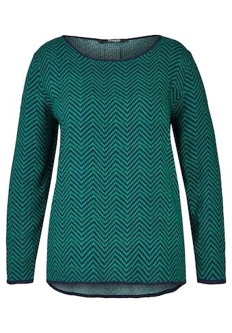 FRAPP Modische Bluse mit getupftem Zick - Zack - Muster Plus Size kaufen