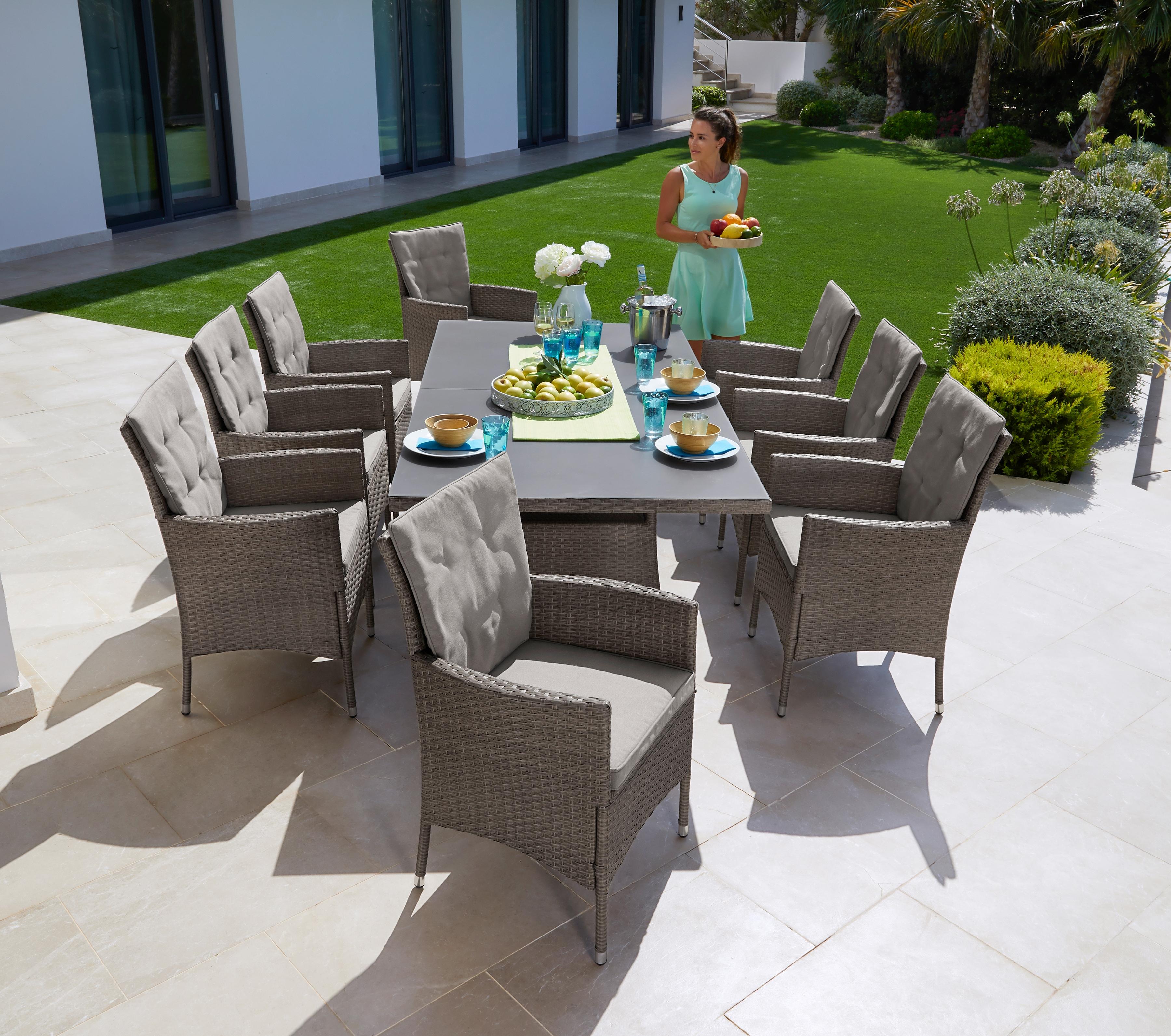 KONIFERA Gartenmöbelset Mailand 25-tlg 8 Sessel Tisch 200x100 cm Polyrattan