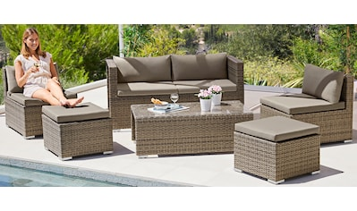 MERXX Loungeset »Vigo«, 16 - tlg., 2er - Bank, 2 Sessel, 2 Hocker, Tisch, Polyrattan kaufen
