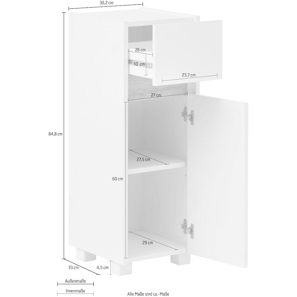 Schildmeyer Unterschrank »Cosmo«, Breite 30 cm, Badezimmerschrank mit griffloser Optik, Blende im modernen Wildeiche-Look, praktische Schublade, wechselbarer Türanschlag