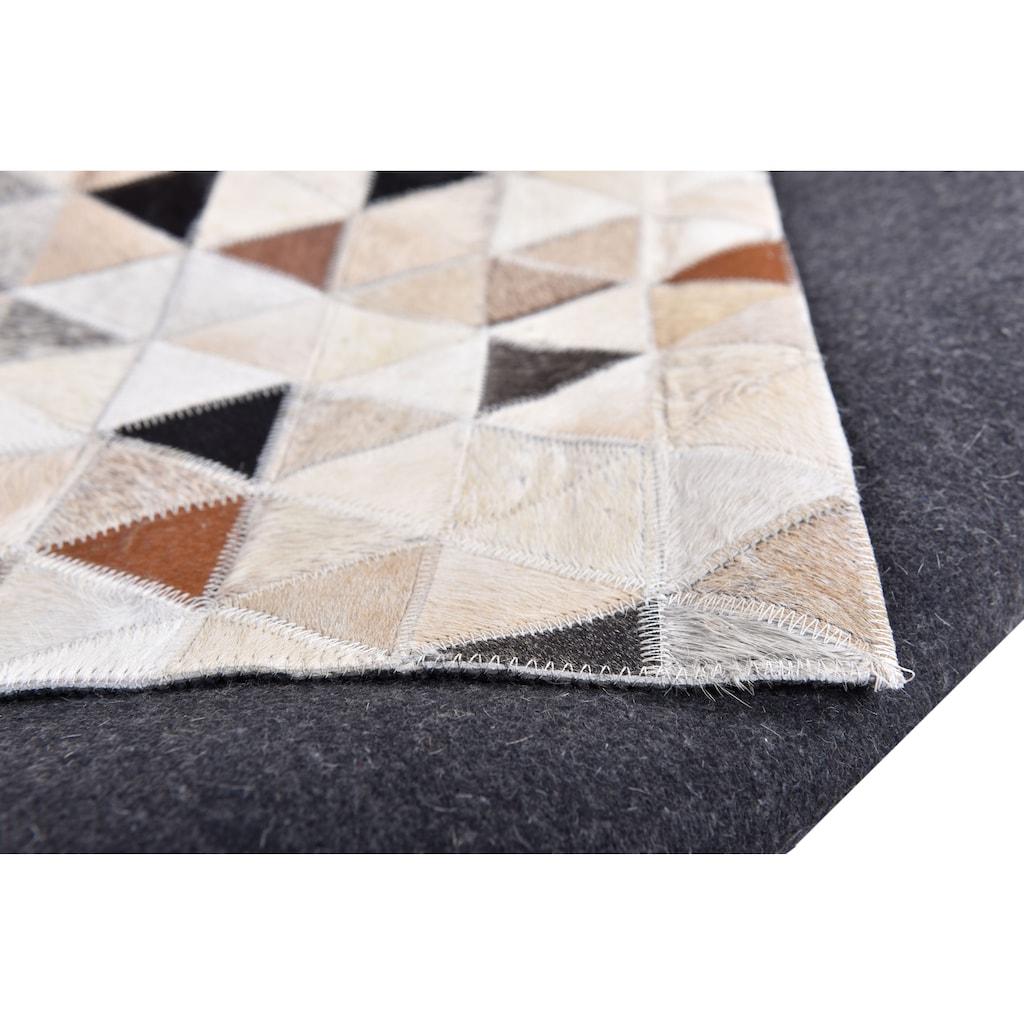 THEKO Fellteppich »Kobe«, rechteckig, 3 mm Höhe, Patchwork, handgenäht, echtes Rinderfell in Naturtönen, Wohnzimmer