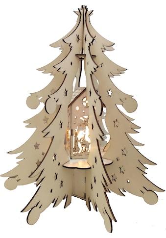 BONETTI LED Dekoobjekt »Holztannenbaum«, Warmweiß, mit beleuchteter Dekoration, Batteriebetrieb kaufen