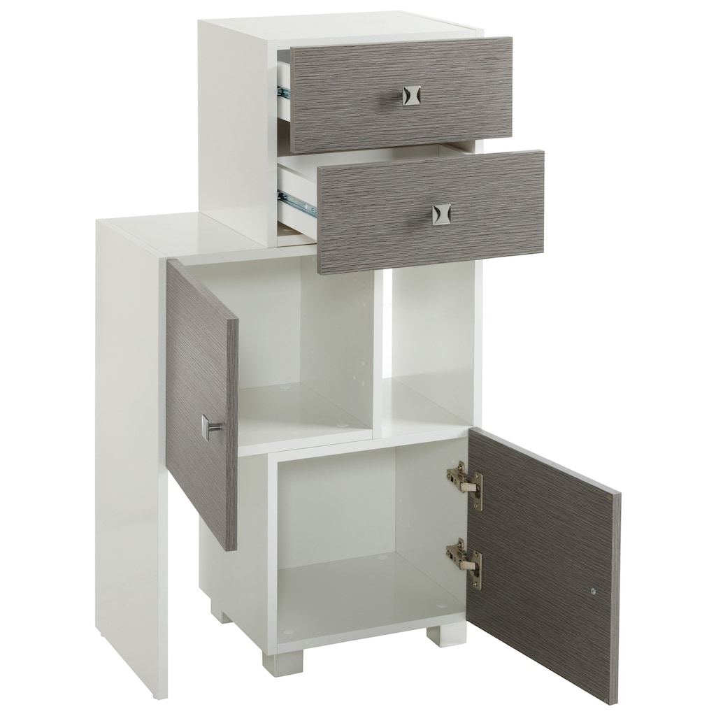 Schildmeyer Schieberegal »Bozen«, Breite 38-68 cm Breite, Türen mit Soft-Close-Funktion, Badregal