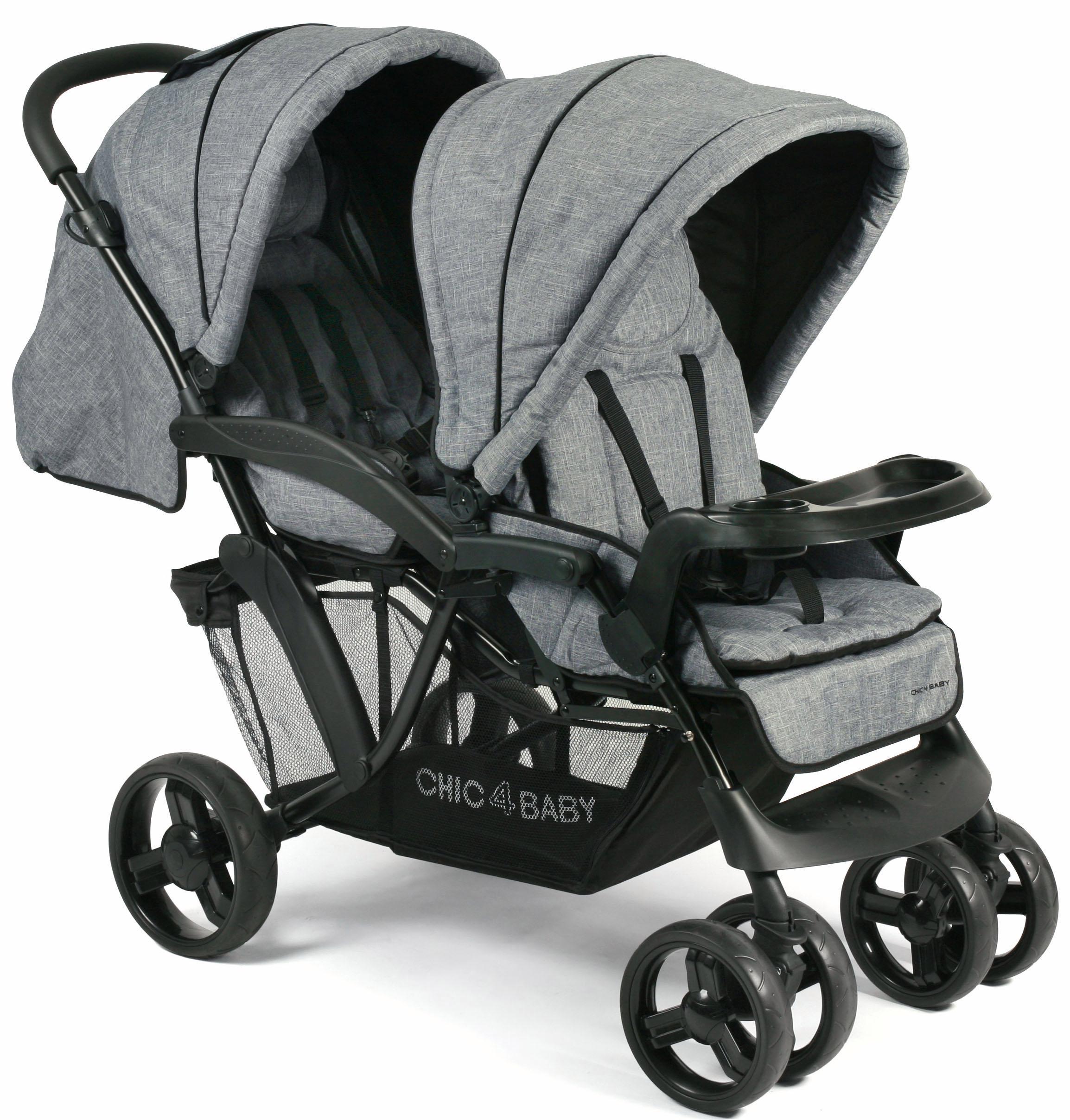 CHIC4BABY Geschwisterwagen Doppio, jeans blue, mit Regenschutz; Kinderwagen, Kinderwagen für Geschwister; Geschwisterkinderwagen grau Kinder Buggies