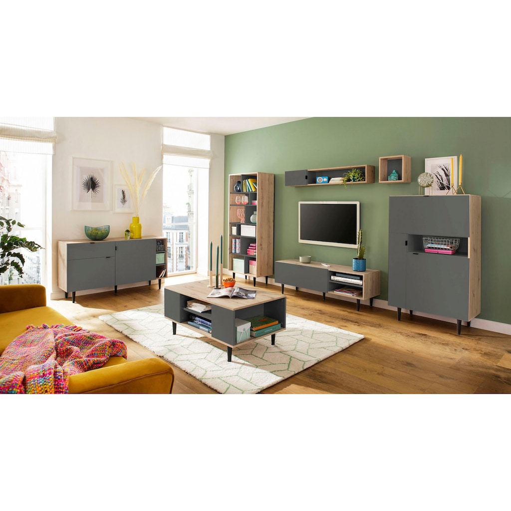 my home Hochschrank »Legro«, mit schwarz lackierten Buchenholzbeinen, Zweifarbigkeit, diversen Stauraummöglichkeiten, Höhe 136 cm