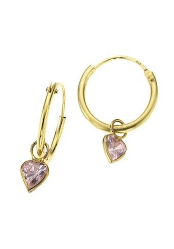 Zeeme Creolen »333/ -  Gelbgold Herz Zirkonia pink« kaufen