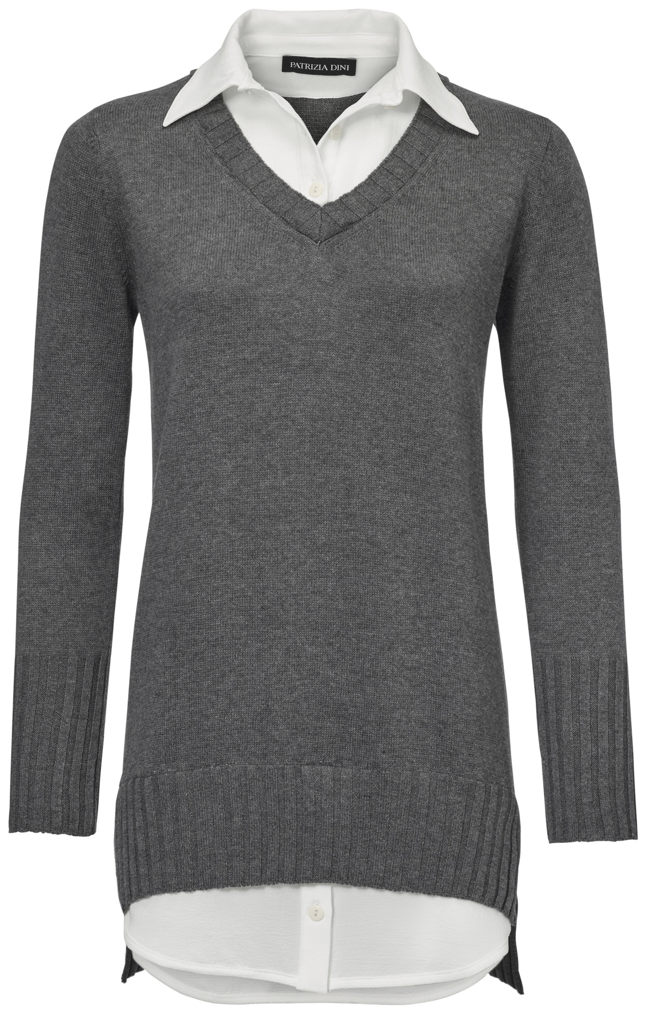 heine TIMELESS Longpullover mit Bluseneinsatz | Bekleidung > Pullover > Longpullover | Grau | Polyester | Heine Timeless