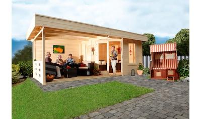 WOLFF FINNHAUS Gartenhaus »Nina 28 - B«, BxT: 640x340 cm, inkl. Fußboden und Anbaudach mit Rückwand kaufen