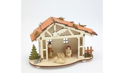 HGD Holz - Glas - Design Weihnachtskrippe mit gedrechselten Figuren kaufen