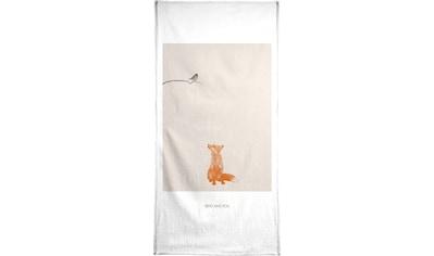 Juniqe Handtuch »Bird And Fox«, (1 St.), Weiche Frottee-Veloursqualität kaufen