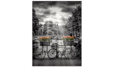 Artland Glasbild »Amsterdam Herengracht & Sonnenstrahlen«, Fahrräder, (1 St.) kaufen