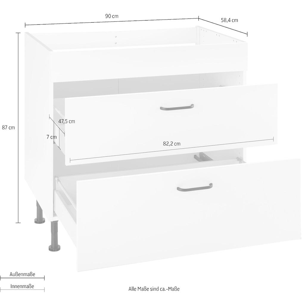 OPTIFIT Kochfeldumbauschrank »Elga«, mit Soft-Close-Funktion, großen Vollauszügen, höhenverstellbaren Füßen und Metallgriffen, Breite 90 cm