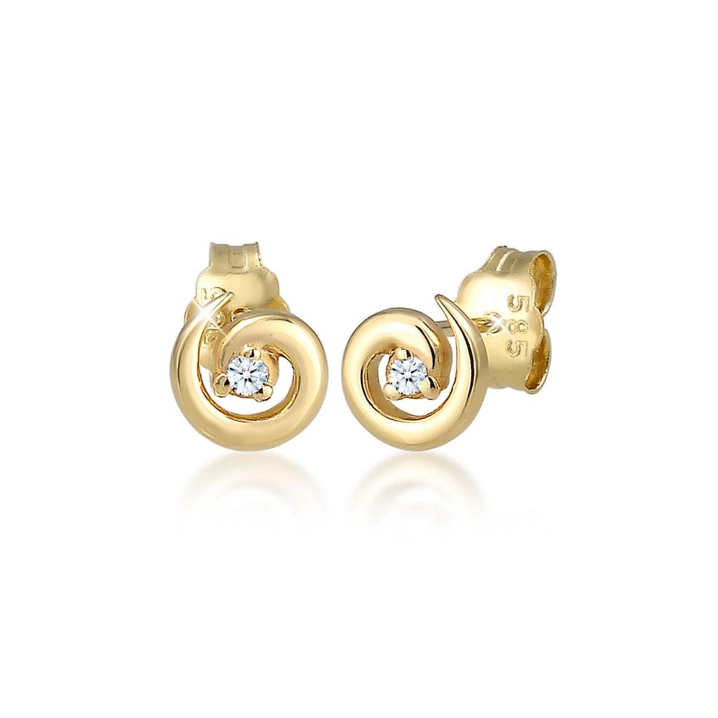 Diamore Paar Ohrstecker »Stecker Spirale Diamanten (0.03 ct) 585er Gelbgold«