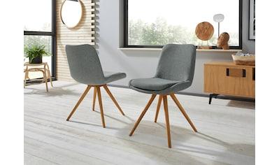 Schalenstuhl »Malmö«, (2 Stück), Bezug in Strukturstoff oder Leder und das Gestell in Eiche Massivholz geölt kaufen