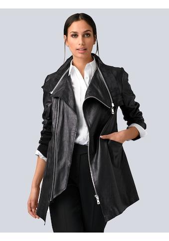 Alba Moda Lederjacke, mit Chiffon-Besatz kaufen