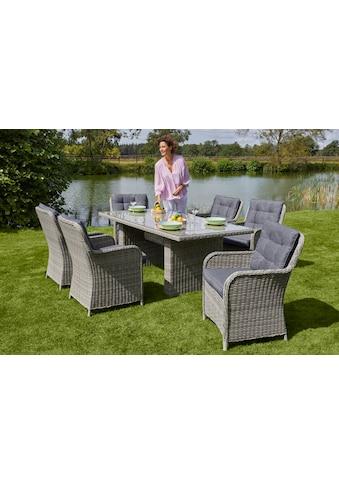 KONIFERA Gartenmöbelset »Menorca«, (19 tlg.), 6 Sessel, Tisch 200x100 cm, Polyrattan kaufen