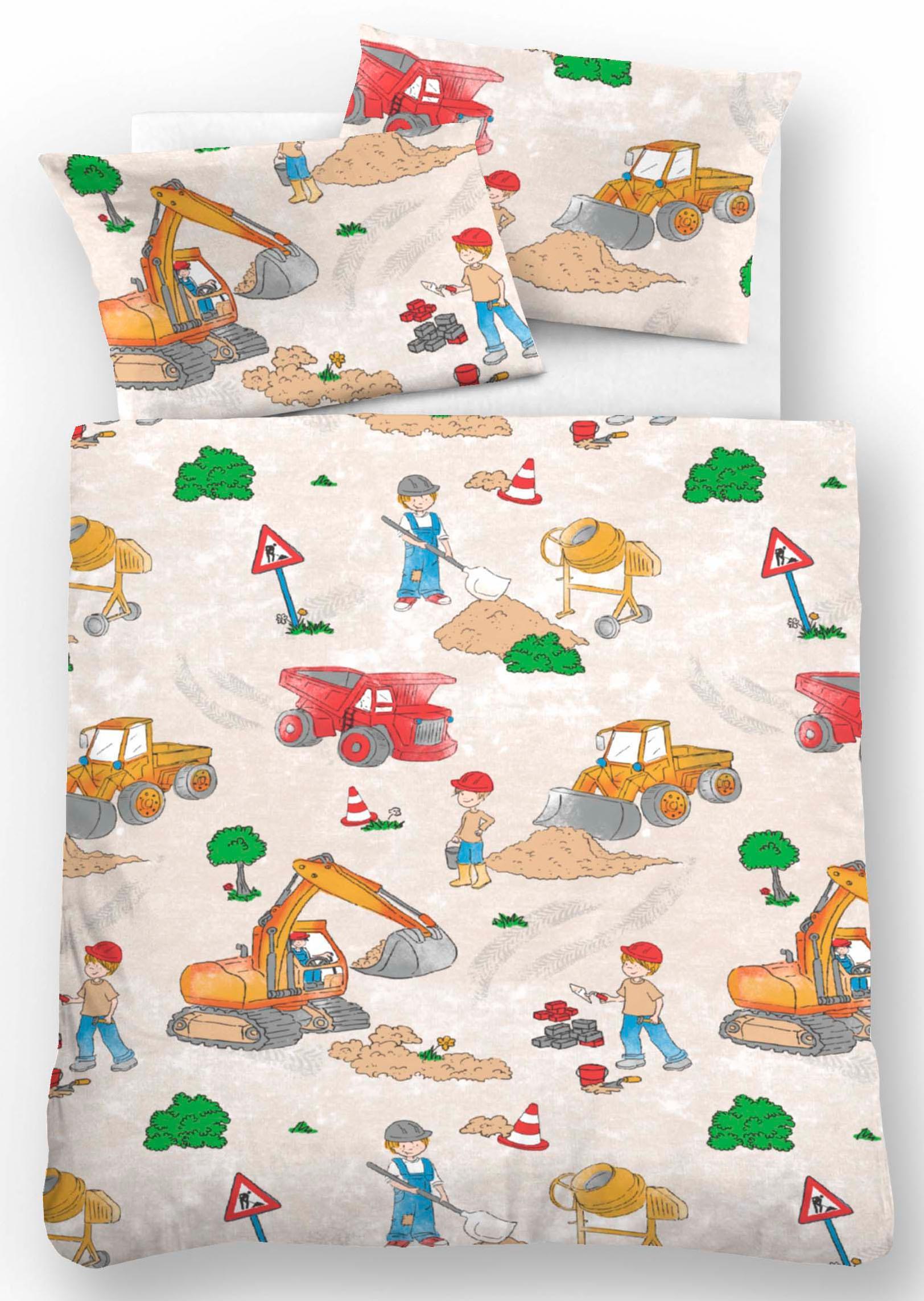 Kinderbettwäsche Biberna Bauarbeiter mit Baggern