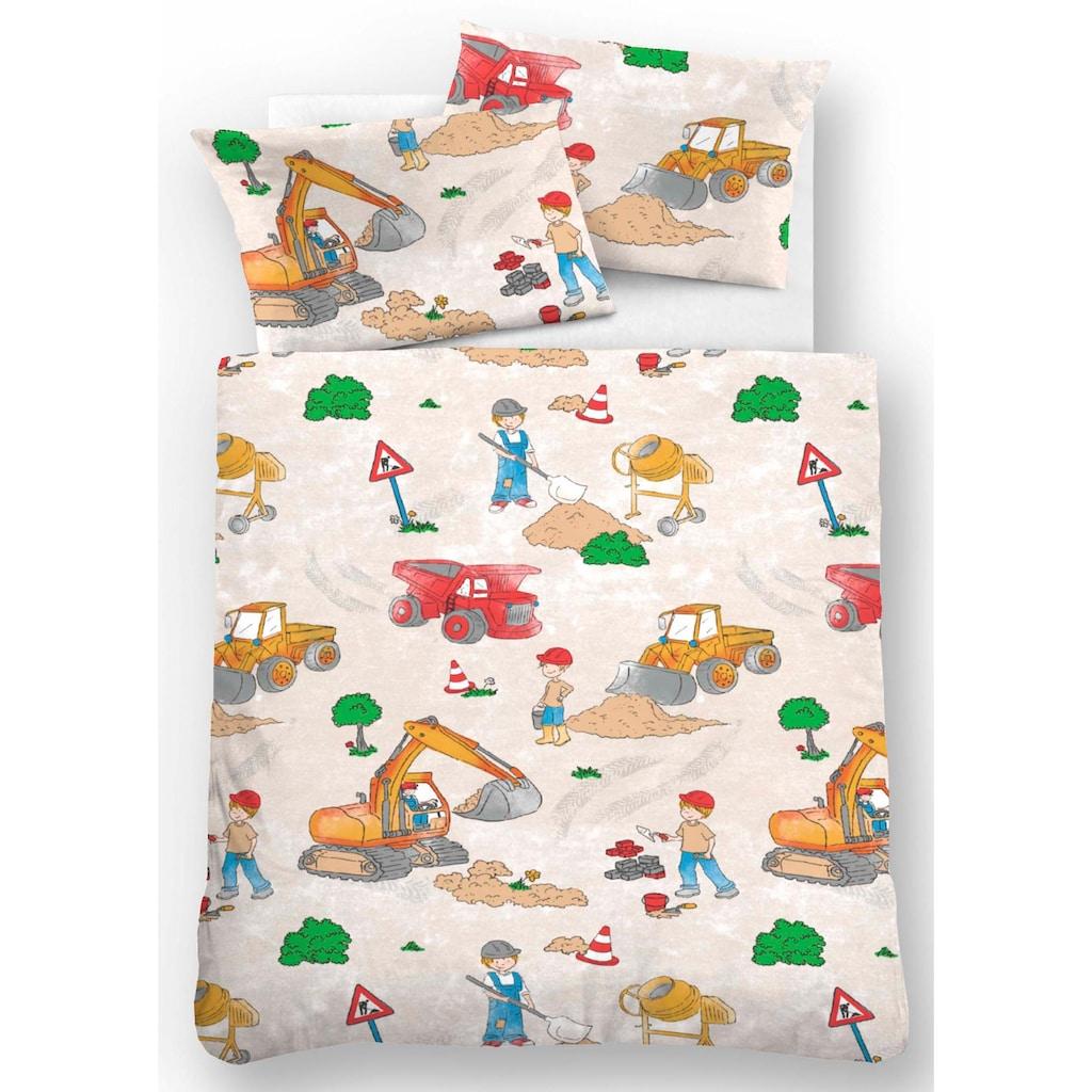 Biberna Kinderbettwäsche »Bauarbeiter«, mit Baggern