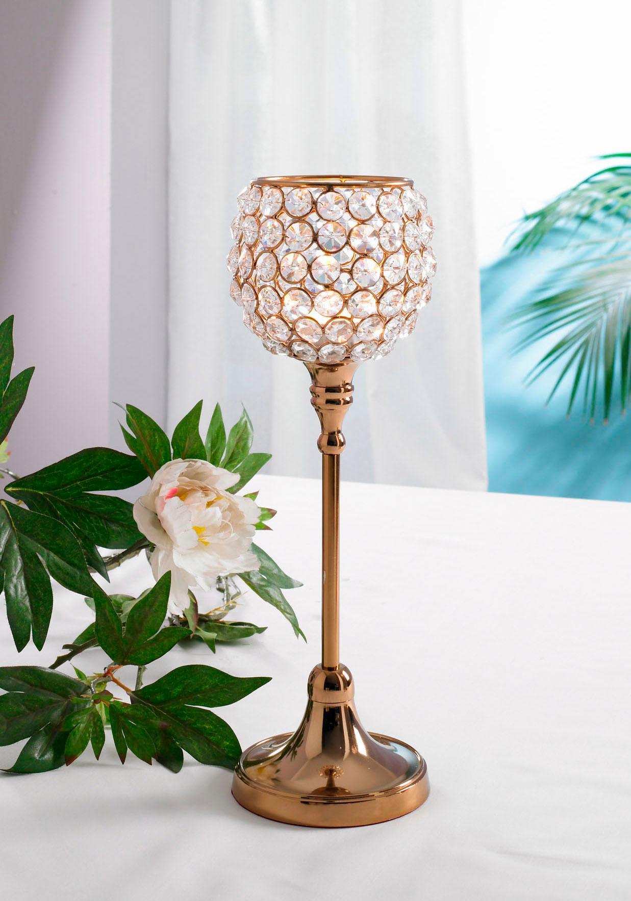 Home affaire Kerzenständer Kristall braun Kerzenhalter Kerzen Laternen Wohnaccessoires