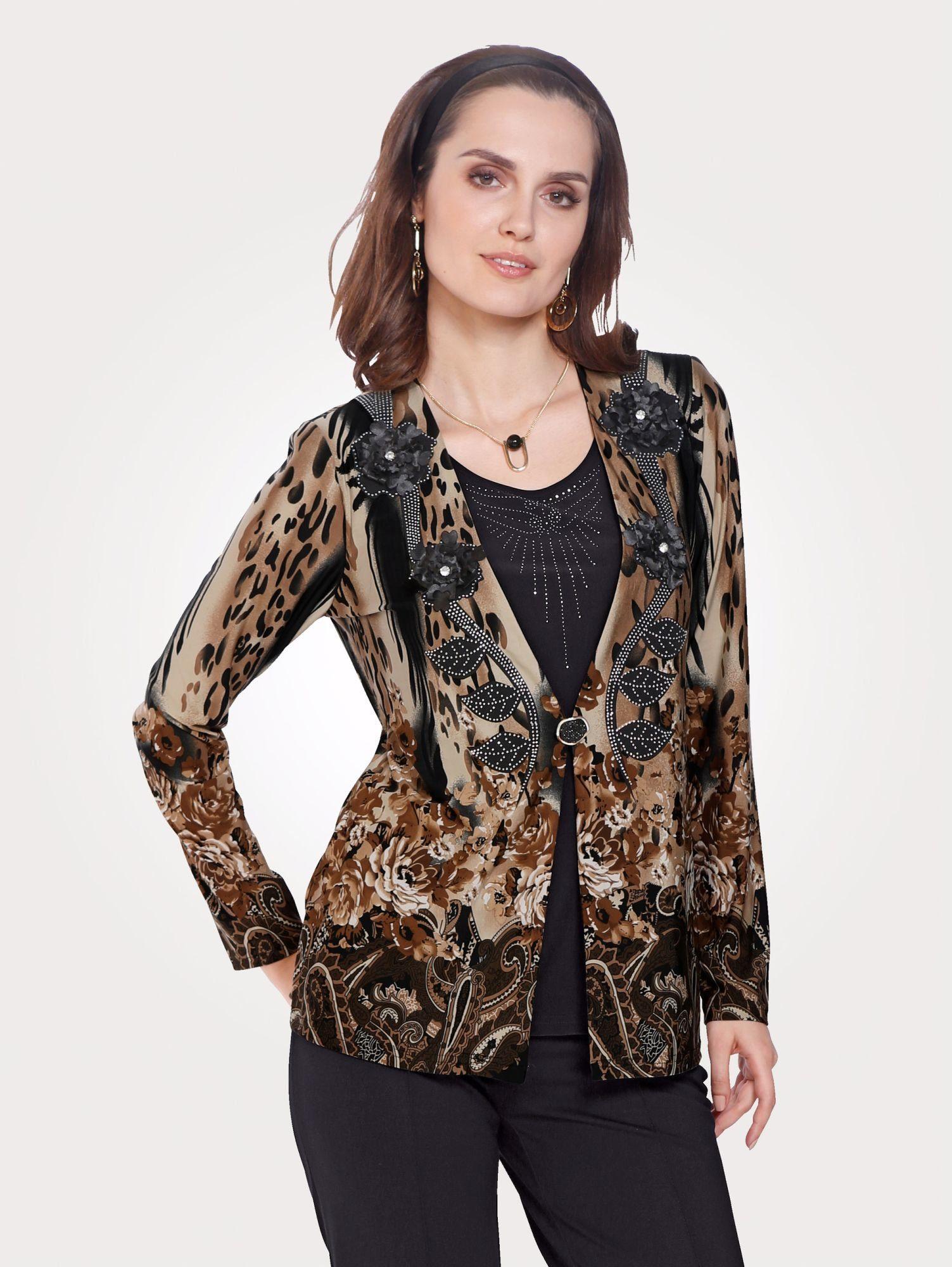 Mona 2in1-Shirt mit Strass-Steinen und Zierblüten Preisvergleich