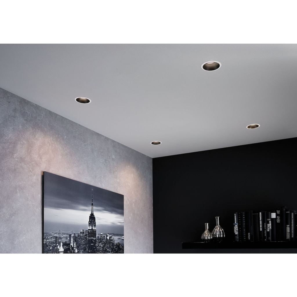 Paulmann LED Einbauleuchte »Set Cole 3x6,5W Weiß/Schwarz matt 3-Stufen-dimmbar 2700K Warmweiß«, Warmweiß