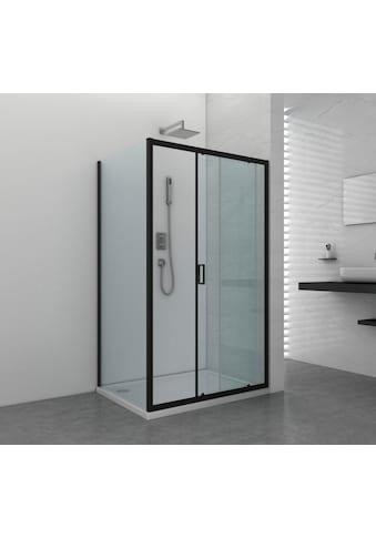 Duschwand »Elite Black «, Fixglas mit Alu - Profil in Schwarz Matt, BxH: 90 x 195 cm kaufen