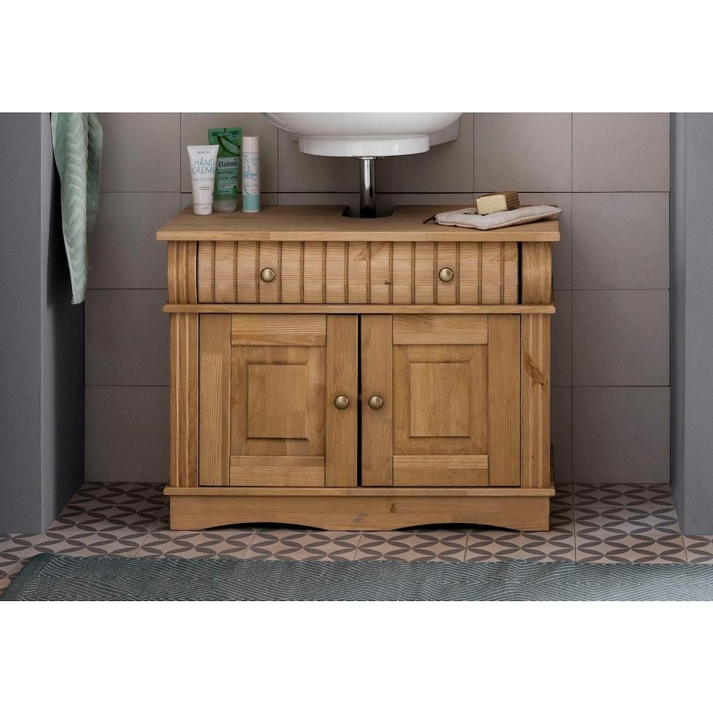 Home affaire Waschbeckenunterschrank »Teresa«, Breite 76 cm, 2 Türen, 1 Schublade & Metallgriffe