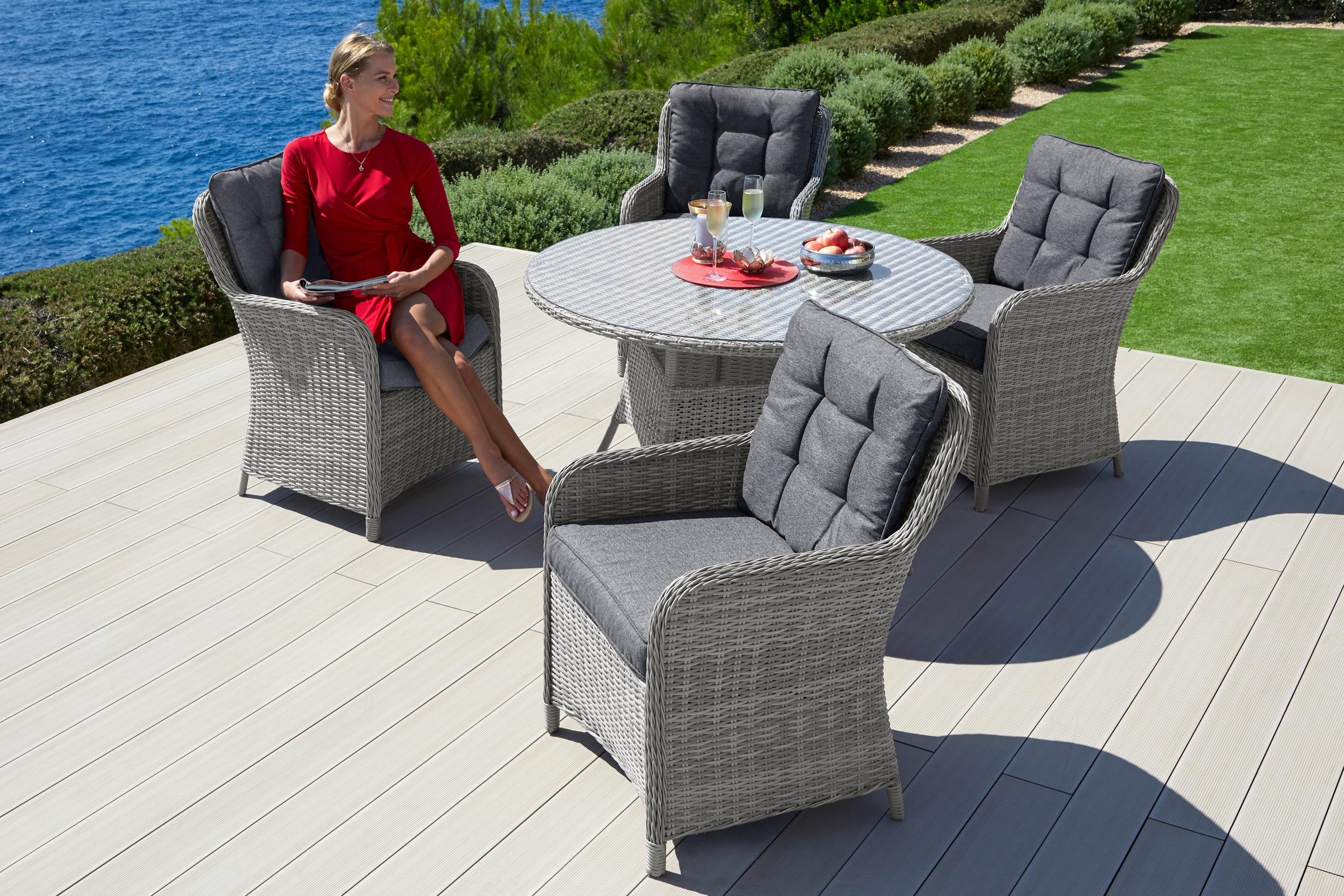 Konifera Gartenmobelset Menorca 13 Tlg 4 Stuhle Tisch O 120