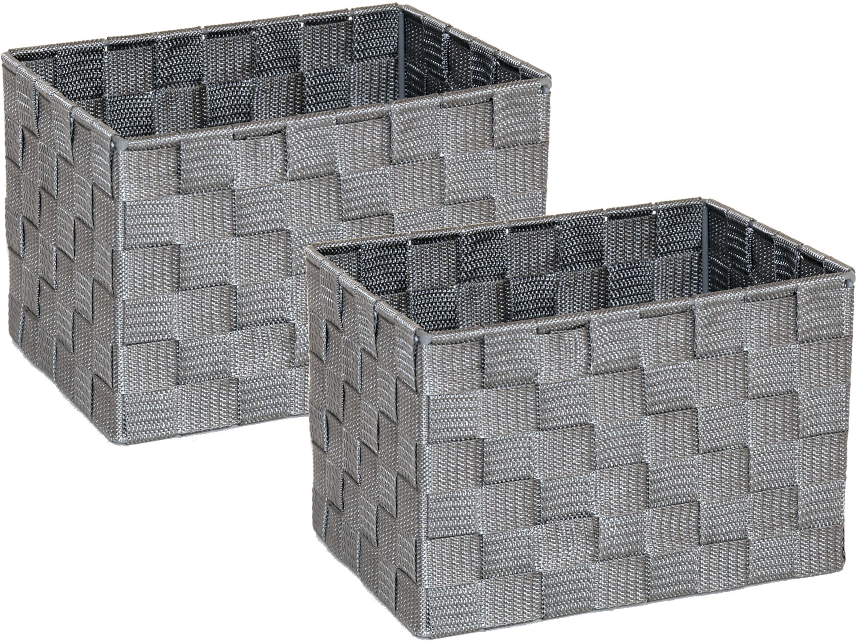 Franz Müller Flechtwaren Aufbewahrungsbox, (Set, 2 St.), Gr. 23 x 18 cm grau Kleideraufbewahrung Aufbewahrung Ordnung Wohnaccessoires Aufbewahrungsbox