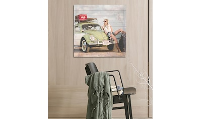 queence Holzbild »Alter Käfer am Strand«, 40x40 cm kaufen