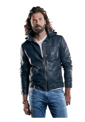 emilio adani perforierte Lederjacke mit abnehmbarer Kapuze kaufen