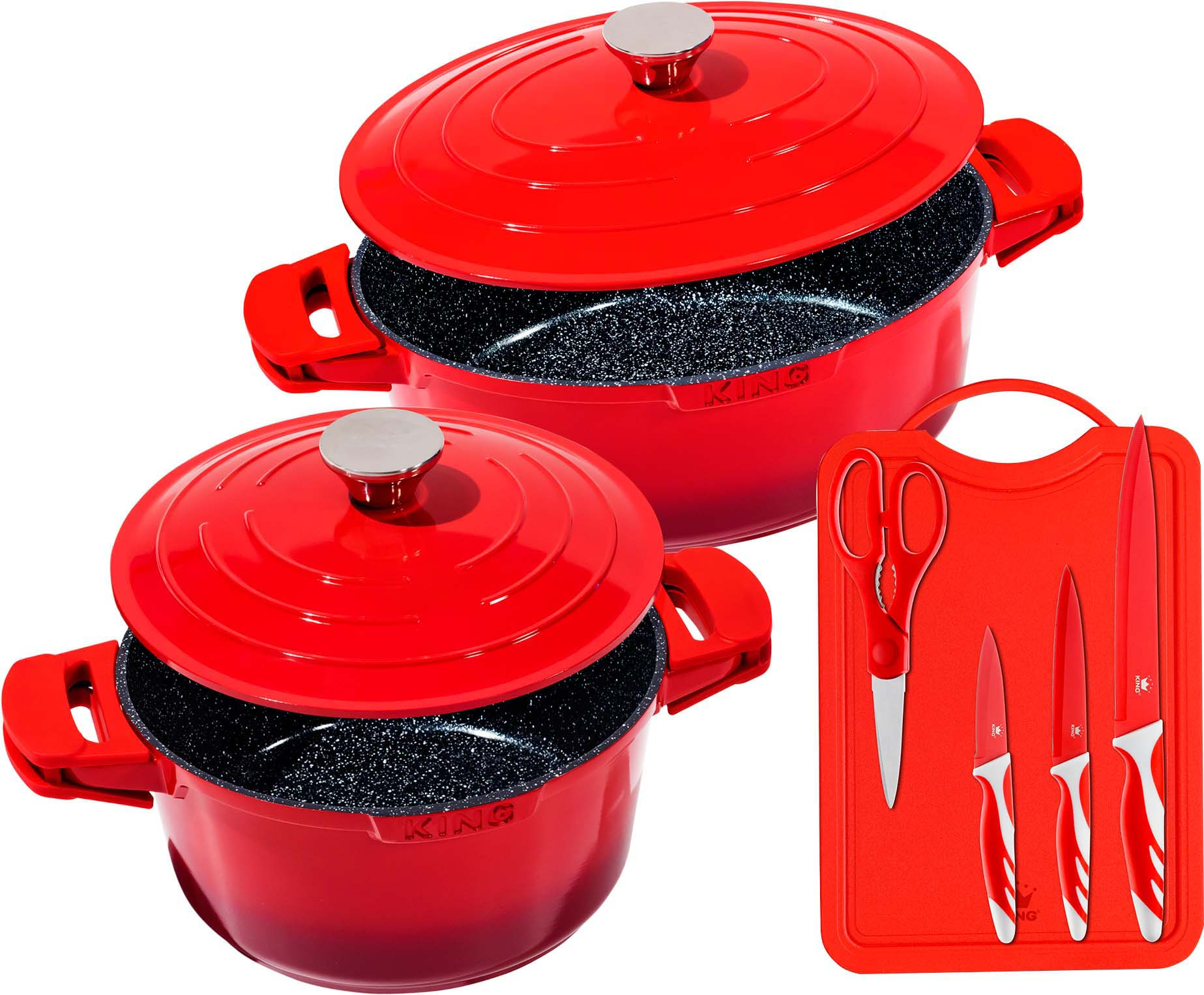 KING Topf-Set Shine (Set, 7-tlg., 2 Töpfe, Schneidbrett, Messer-Set) rot Topfsets Töpfe Haushaltswaren Topf