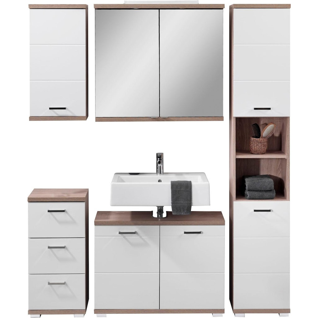 Homexperts Badmöbel-Set »Nusa«, (5 St.), aus Spiegelschrank inkl. LED-Beleuchtung, Hochschrank, Waschbeckenunterschrank, Hängeschrank und Unterschrank, Badezimmerschrank mit Metallgriffen und MDF-Fronten in Hochglanz-Optik