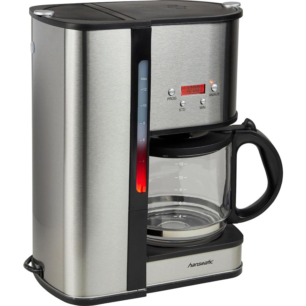 Hanseatic Filterkaffeemaschine »für 12 Tassen«, Papierfilter, 1x4, mit Glaskanne und Timerfunktion, Edelstahl