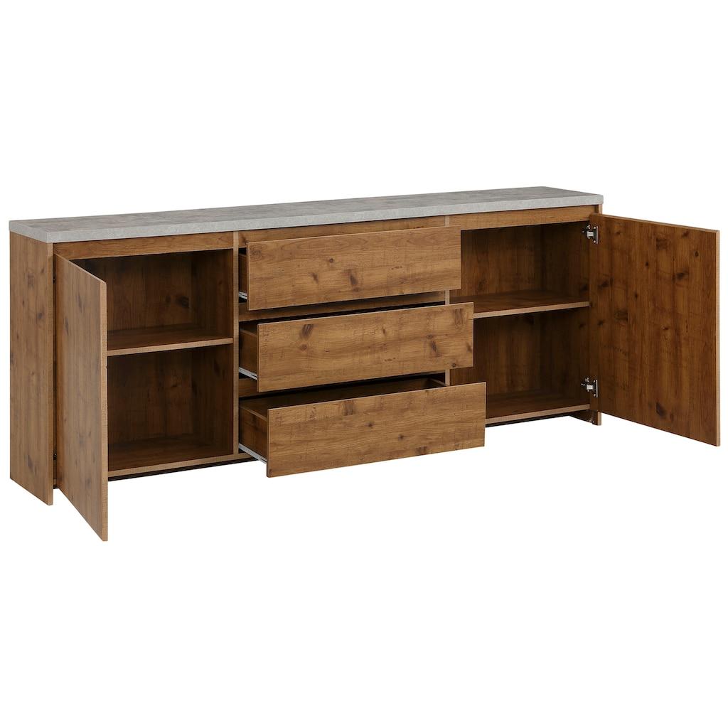 Home affaire Sideboard »Maribo«, im modernem Landhaus-Stil, mit schöner Betontopplatte, Breite 200 cm