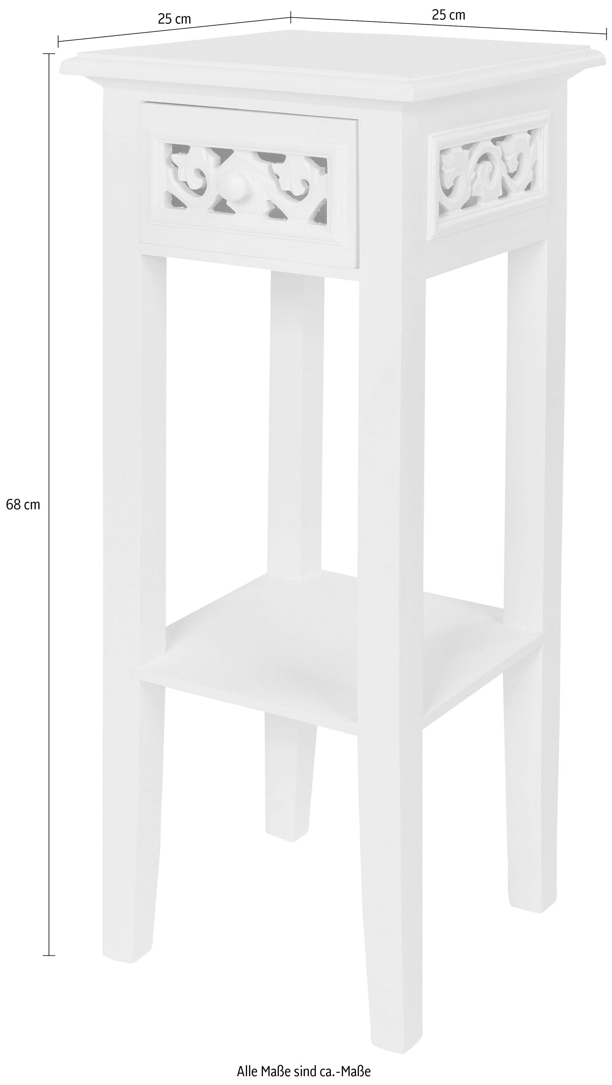Beistelltisch Romantic, Beistelltisch, weiß, Landhausstil, mit Schublade weiß Beistelltische Tische